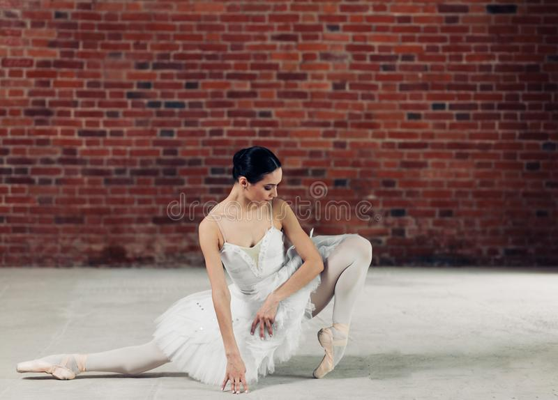 Young awesome talented motivated girl stretching on the floor . stock photography