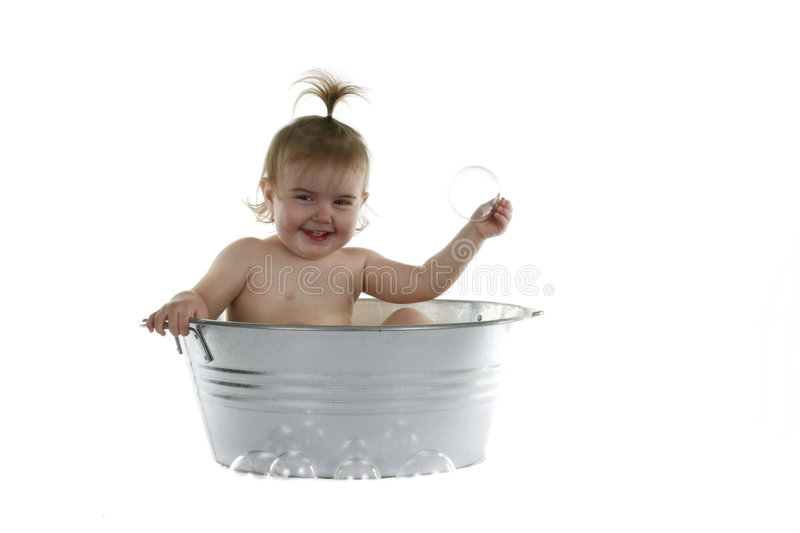 Download Young Baby Girl In Washtub Stock Images - Image: 1414434