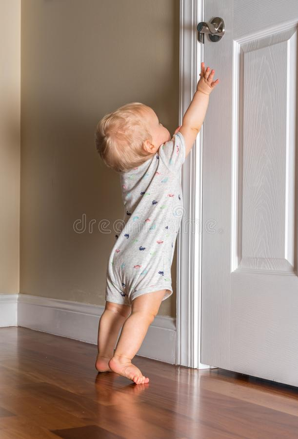 Little Child Toddler Reaching Up At Home Stock Photo