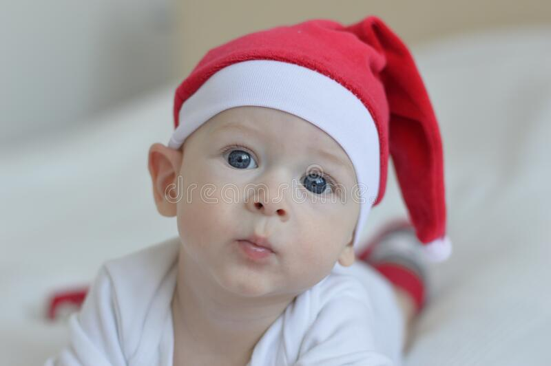 Young baby with stocking cap royalty free stock photos