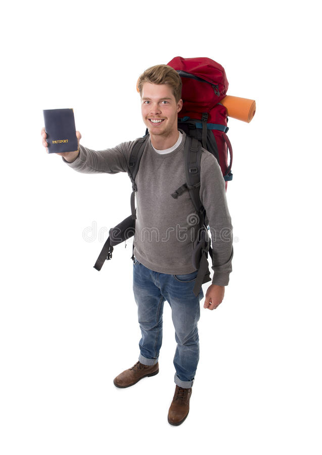 Download Young Backpacker Tourist Holding Passport Carrying Backpack Ready For Travel Stock Photo - Image: 49848294