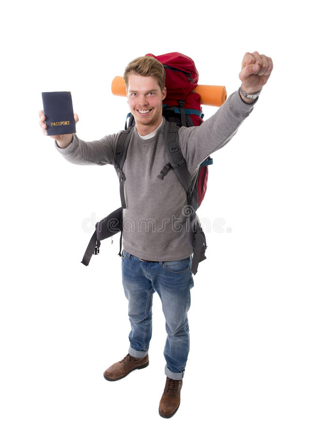 Download Young Backpacker Tourist Holding Passport Carrying Backpack Ready For Travel Stock Photo - Image: 49848302