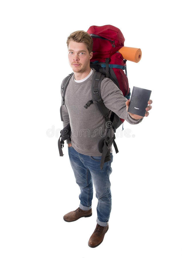 Download Young Backpacker Tourist Holding Passport Carrying Backpack Ready For Travel Stock Photo - Image: 49848364