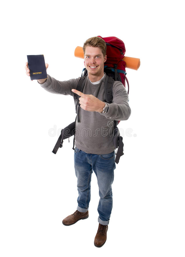 Download Young Backpacker Tourist Holding Passport Carrying Backpack Ready For Travel Stock Image - Image: 49848391