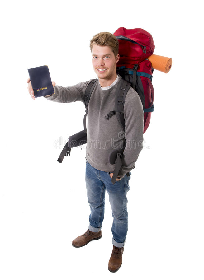 Download Young Backpacker Tourist Holding Passport Carrying Backpack Ready For Travel Stock Photo - Image: 49848404