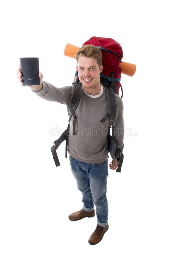 Download Young Backpacker Tourist Holding Passport Carrying Backpack Ready For Travel Stock Photo - Image: 49848410