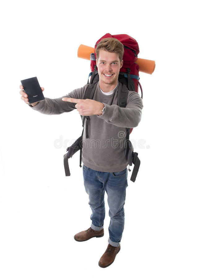 Download Young Backpacker Tourist Holding Passport Carrying Backpack Ready For Travel Stock Image - Image: 49848423
