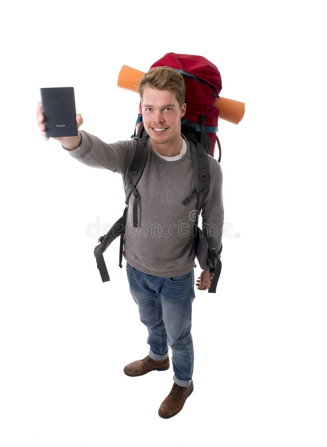Download Young Backpacker Tourist Holding Passport Carrying Backpack Ready For Travel Stock Image - Image: 49848517