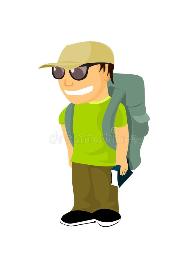 Young Backpacker With Travel Guide Stock Photo