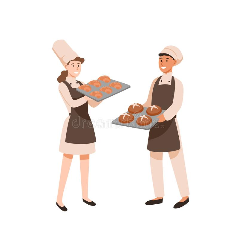 Young bakers flat vector illustration. Pastry cooks with sweet-stuff, male and female confectioners with bakery. Profession, work result. Man and woman with royalty free illustration