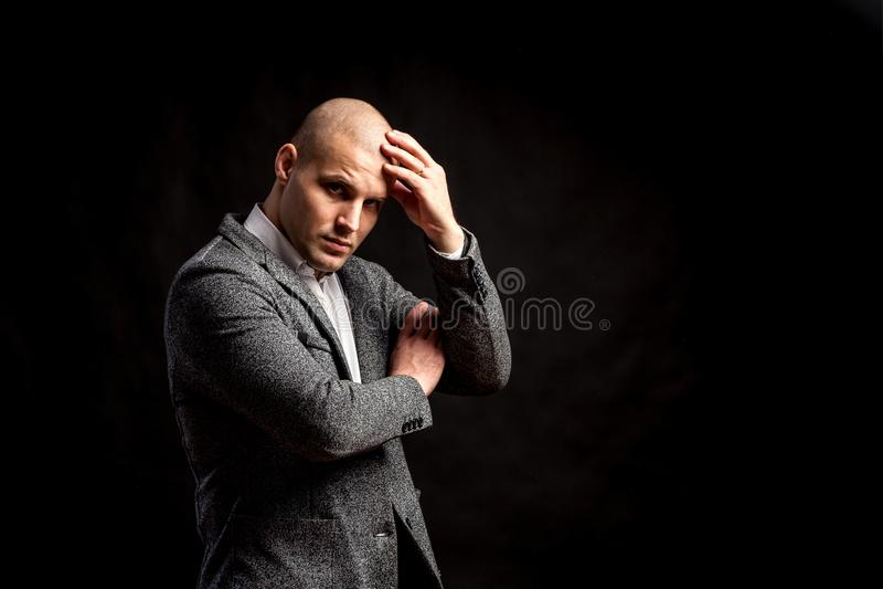 A young bald man royalty free stock photos