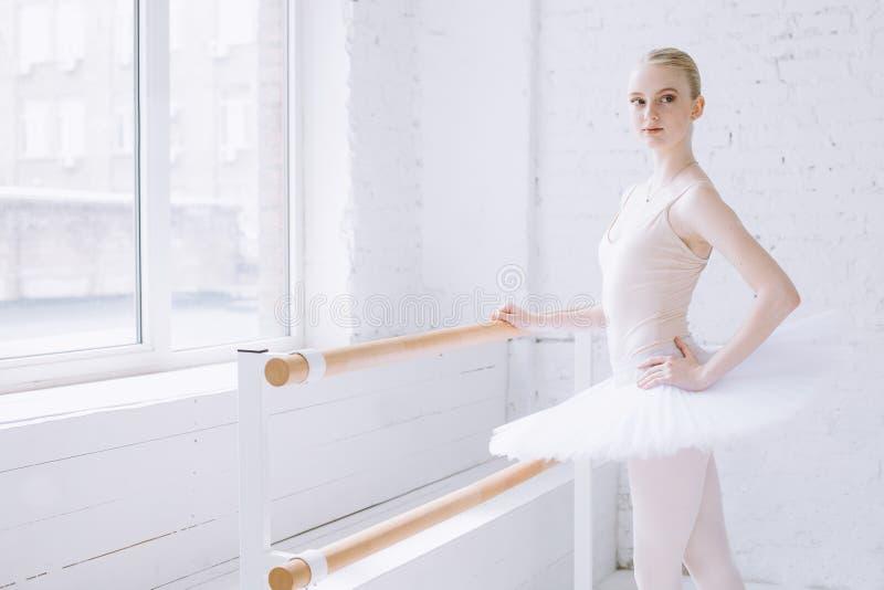 Young ballerina in ballet class stock photo
