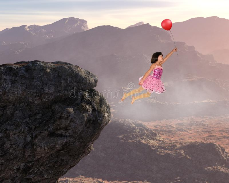 Girl Flying, Peace, Hope, Love, nature, Spiritual Rebirth. A young ballerina ballet dancer girl is flying with a balloon. Abstract concept for peace, hope, love royalty free stock photos