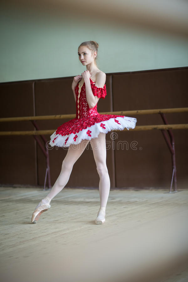Young ballerina in a dance class. Portrait in full growth, the f stock images