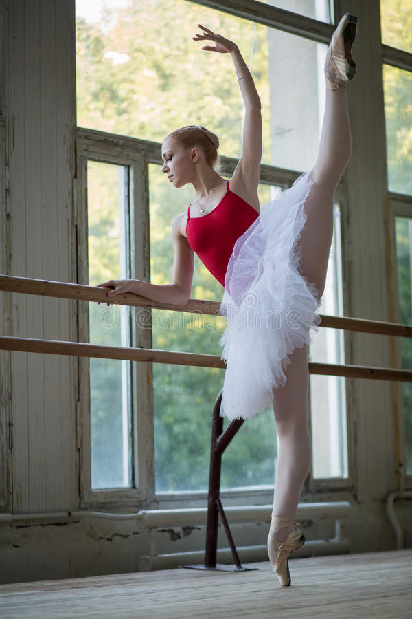 Young Ballerina Standing On One Leg On Your Toes In Pointe ...