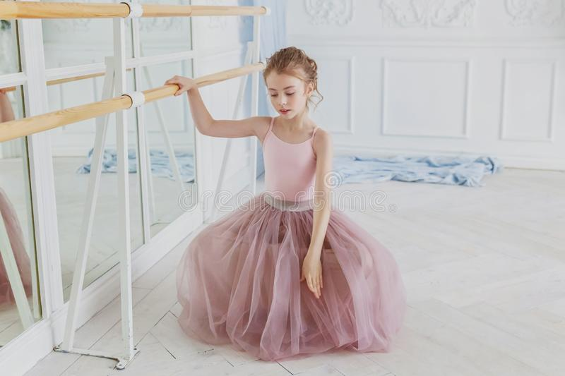 Young ballet dancer in dance class stock images