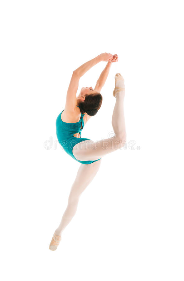 Young ballet dancer jumping in contemporary dance. Young pretty ballet dancer is jumping in contemporary dance royalty free stock photography