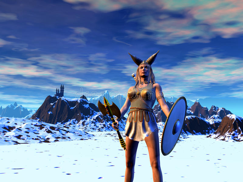 Young barbarian warrior with ax and shield. Walking in the mountains with snow, 3d illustration vector illustration