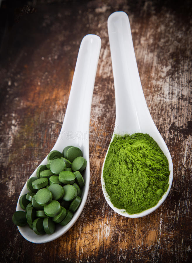 Young barley and chlorella spirulina. Detox superfood stock image