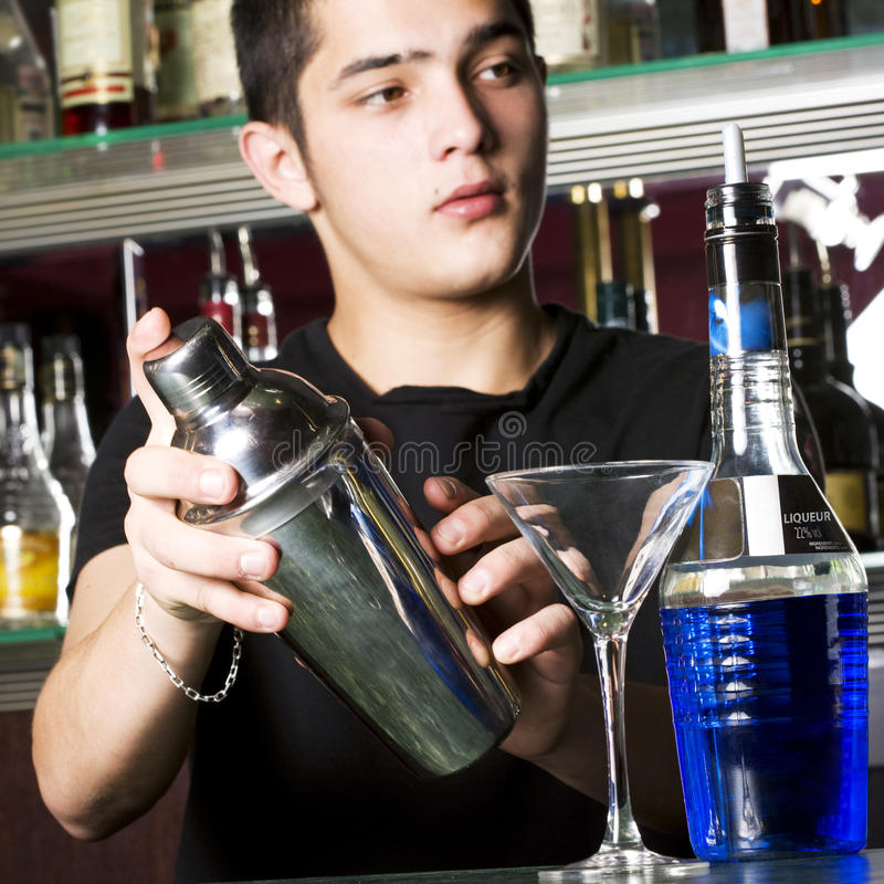 Young barman royalty free stock images