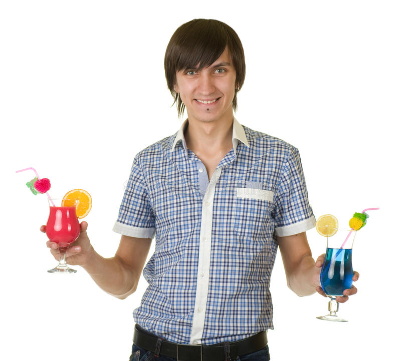 Young bartender with alcohol cocktail drink