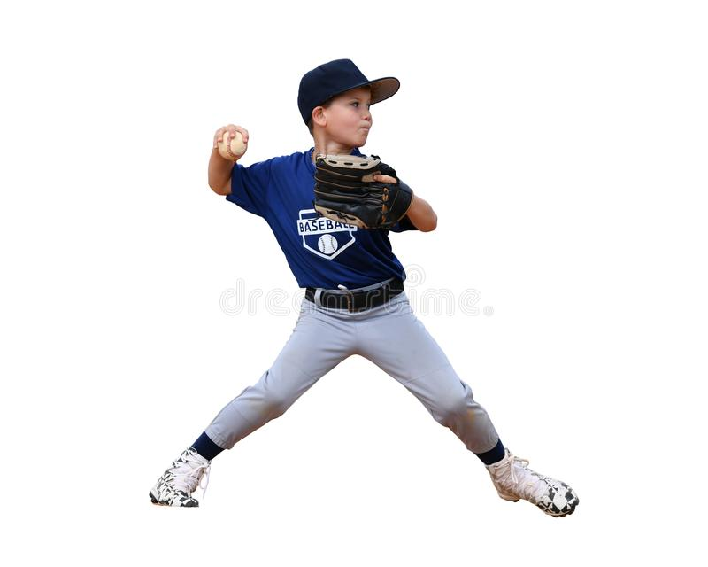 Young boy pitching the ball during a Baseball game stock photography