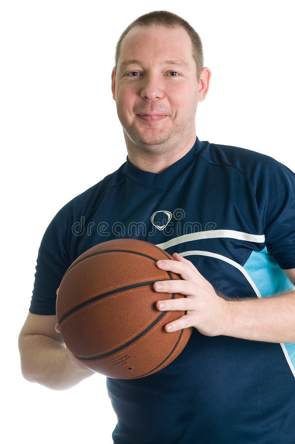 Young basketball player. With ball. Isolated over white stock photography