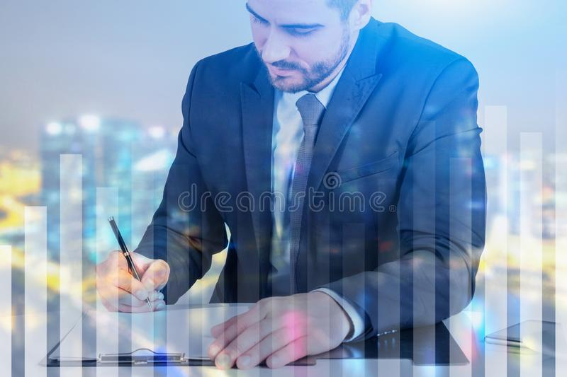 Businessman writing in clipboard in night city royalty free illustration