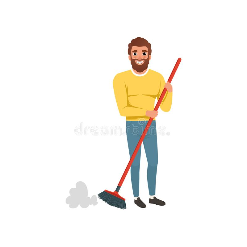Young bearded guy sweeping cleaning floor with plastic brush. Housekeeping theme. Cartoon man in sweater and jeans royalty free illustration