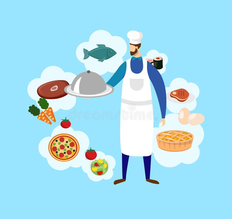 Young Bearded Male Chef in Toque and Food Icons. vector illustration