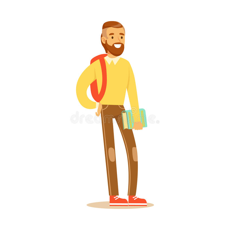 Young bearded man in casual clothes with backpack standing and holding book in his hand. Student lifestyle colorful vector illustration