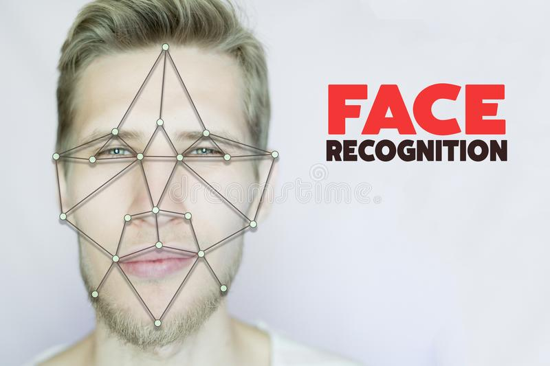 Young bearded man facial and eye recognition concept isolated background royalty free stock image