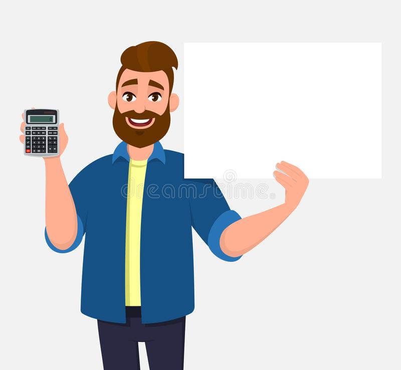 Young bearded man showing or holding digital calculator device and empty white board, blank poster, sheet with copy space in hand. Modern lifestyle, latest royalty free illustration