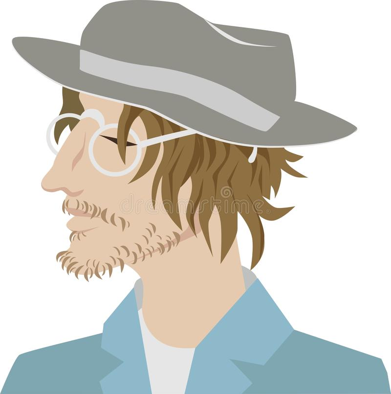 Young bearded man in a stylish hat. Hipster, professional artist. In glasses and a suit.Portrait. vector character royalty free illustration