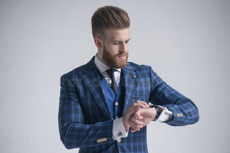 Young bearded stylish businessman leader indoors dressed in three-piece suit checking the time on his watch. isolated on grey stock photography