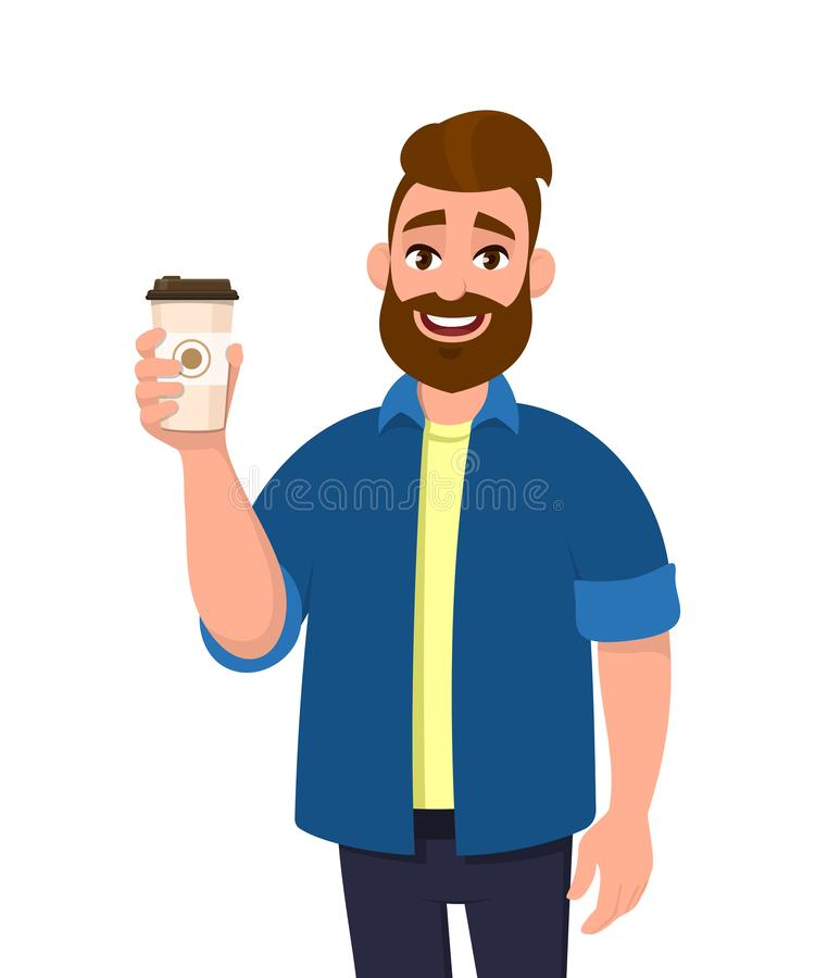 Young bearded trendy man holding a coffee cup in hand. Male character design illustration. Modern lifestyle, food and drink, break. Rest concept in vector vector illustration