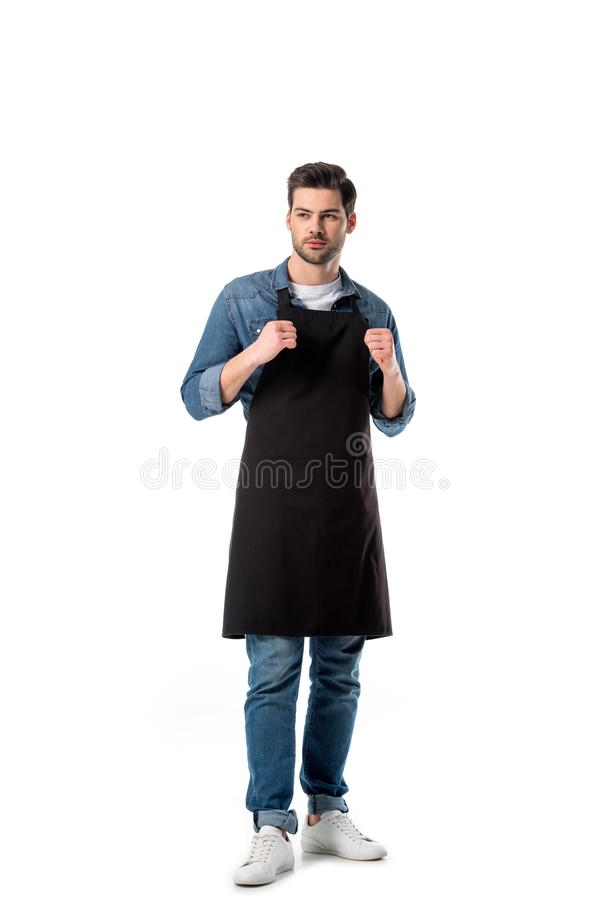 Young bearded waiter in apron looking away. Isolated on white stock photography