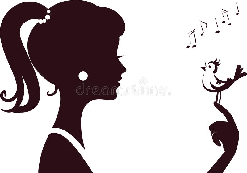 Young beautifu girl silhouette royalty free illustration