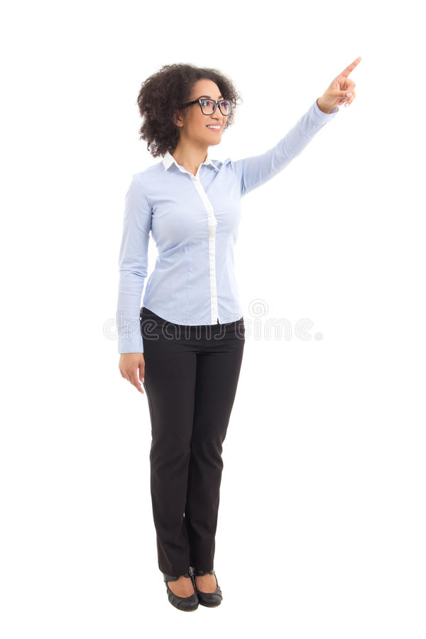 Young beautiful african american business woman pointing at some royalty free stock image