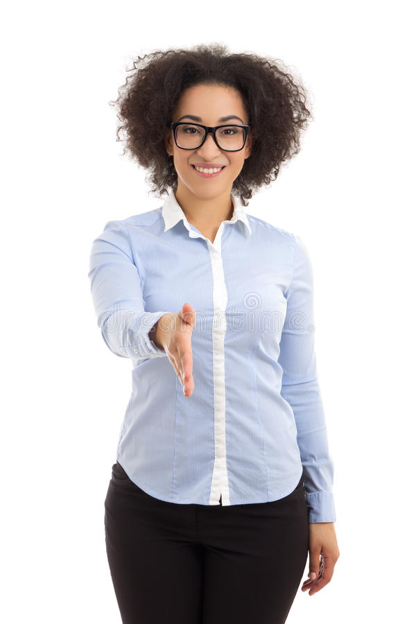 young beautiful african american business woman ready to handshake isolated on white stock photos