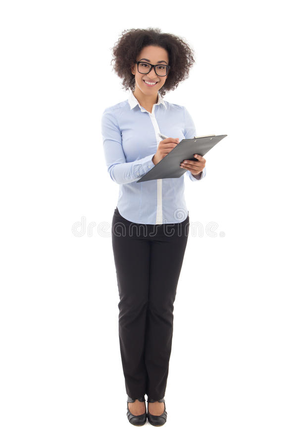 young beautiful african american business woman writing something on clipboard isolated on white royalty free stock image