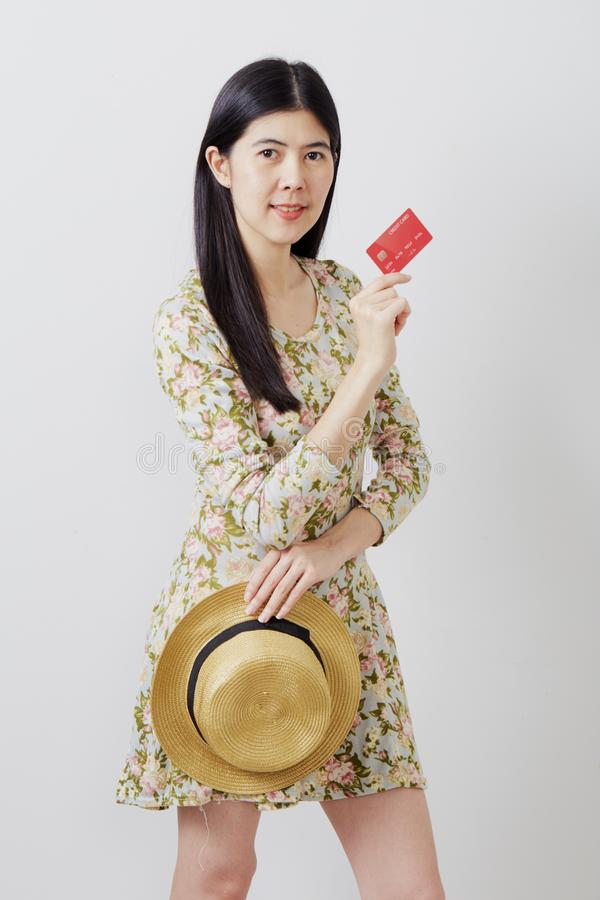 Woman in hat hand holding card stock photography