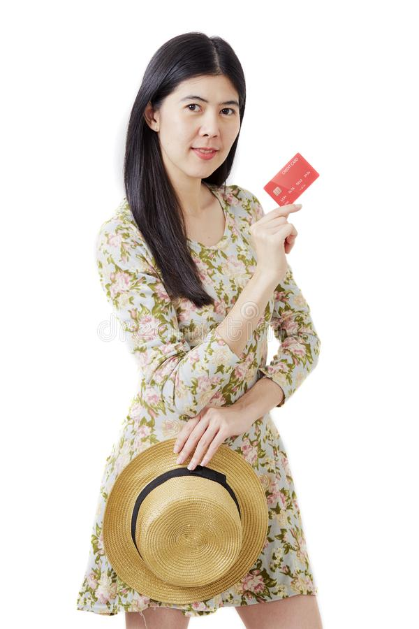 Woman in hat hand holding card royalty free stock image