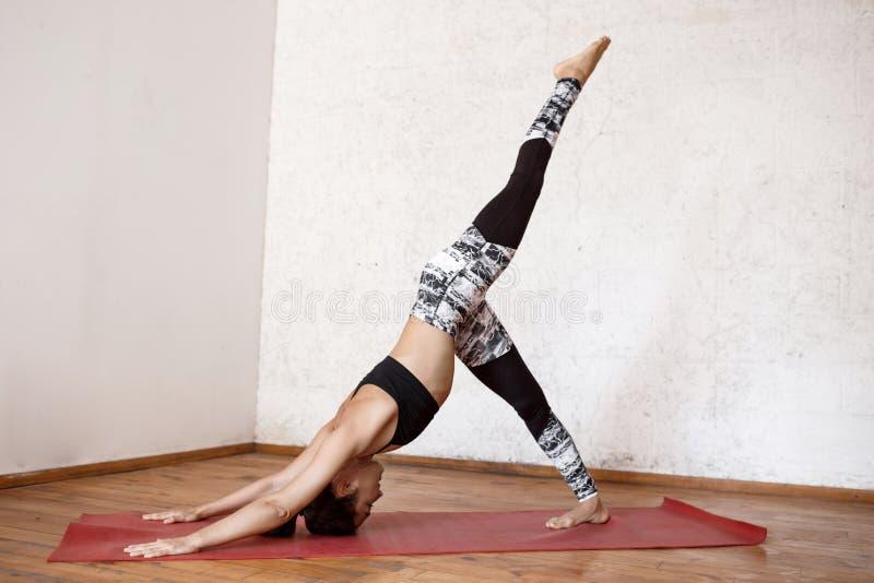 Young beautiful athletic girl practicing indoor yoga asanas. Eka Pada Adho Mukha Svanasana. One-Legged Downward-Facing. Young beautiful athletic girl practicing stock image