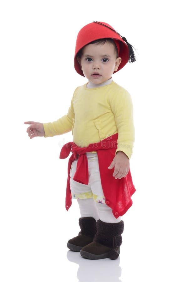 Young Beautiful Baby Girl Wearing Tarboosh stock photo