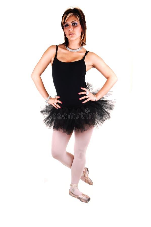 A young beautiful ballerina dancing. stock photo