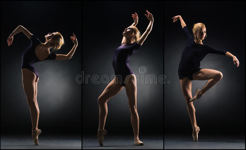 The young beautiful ballerina dancing on a black background. Collage stock photography