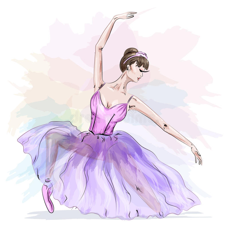 Young and beautiful ballerina posing and dancing in fashion pink dress. royalty free illustration