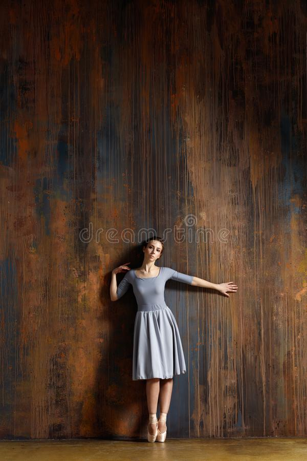 Young beautiful ballerina is posing in studio royalty free stock photos