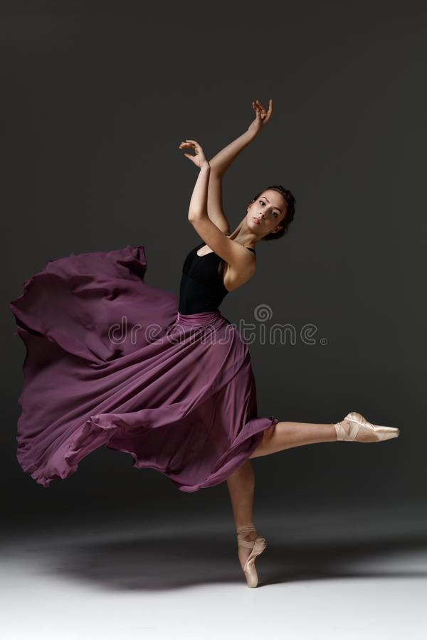 Young beautiful ballerina is posing in studio stock photography